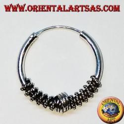 Boucle d'oreille en argent, cercle de tissage croisé travaillé, 20 mm