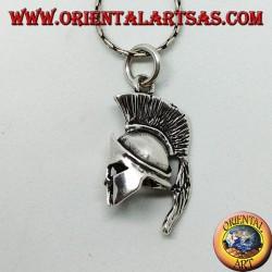 Spartan helmet silver pendant
