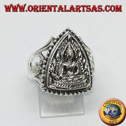 Серебряное кольцо Будды бхумиспарса