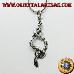 Pendentif en argent, deux serpents amoureux