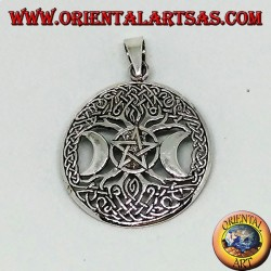 Silver pendant, the tree of the triple Goddess with pentacle
