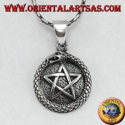 Silver pendant, talisman Uroboro ouroboros with pentacle