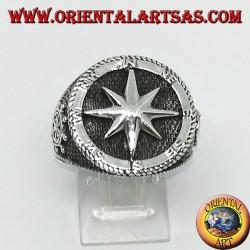 Silver ring with Compass rose, rudder and still on the sides