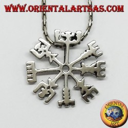 Silver pendant, Vegvisir (magic symbol)