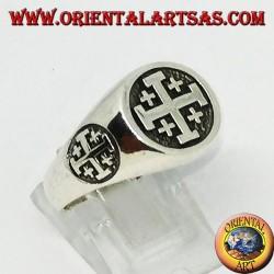 Anello in argento sigillo croce di Gerusalemme