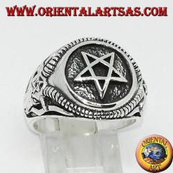 Silver ring with pentacle and Bafometto (the Bean of Mendes)