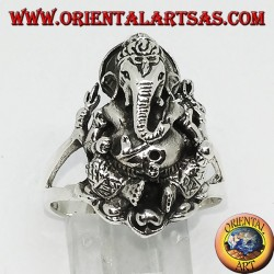Silver ring with Ganesh sitting on the lotus flower