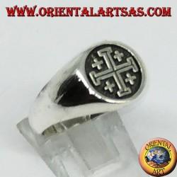 Anello in argento sigillo Croce dei Cavalieri del Santo Sepolcro di Gerusalemme