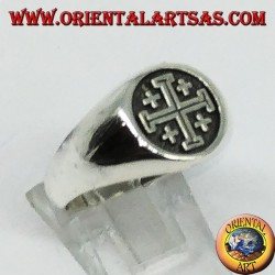 Silver ring Cross seal of the Knights of the Holy Sepulcher of Jerusalem