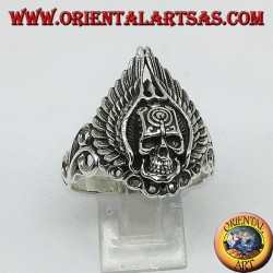 Silver ring, skull with wings