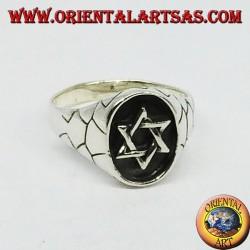 Silberring, Siegel mit Davidstern, 6-zackiger Stern