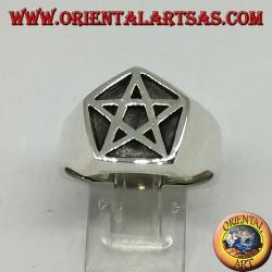 Anello in argento, sigillo pentacolo nel pentagono