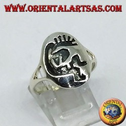 Silver ring Kokopelli symbol of happiness