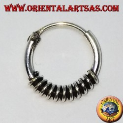 Silver earring, worked circle with stripes, 10 mm