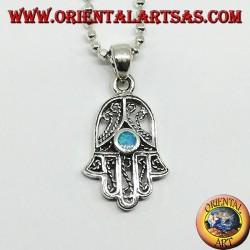 Ciondolo in argento,mano di fatima hamsa con opale