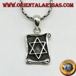 Ciondolo stella di Davide intarsiata su pergamena in argento