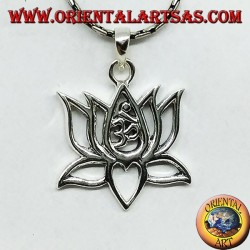 Silver pendant Lotus flower with om sacred central syllable Aum