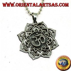 Silver pendant with Auṃ or Oṃ sacred syllable on the Lotus flower