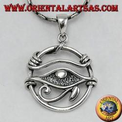 Ciondolo in argento,occhio di Horus nel cerchio