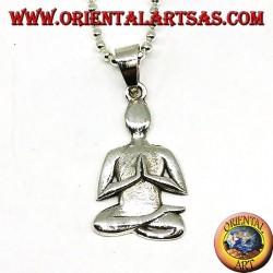 Ciondolo in argento la meditazione nella postura di Sukhasana