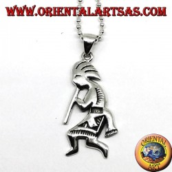 Pendant in silver kokopelli symbol of happiness