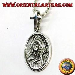Серебряный кулон Санта-Тереза и Святой Кристофер