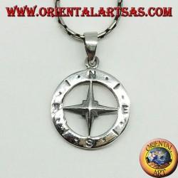 Silber Anhänger Windrose Kompass, doppelseitig