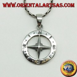 Silver pendant Wind rose compass, double-sided