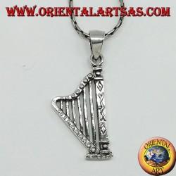 Silver pendant Harp musical instrument
