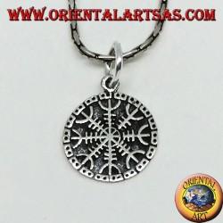 Silver pendant vegvisir (small) aegishjalmur