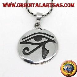 Colgante en plata, Ojo de Horus (ojo de Rha) con incrustaciones