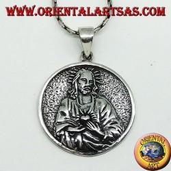 Colgante en plata del Sagrado Corazón de Jesús