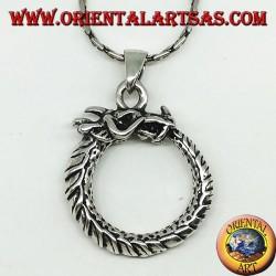 Ciondolo in argento, drago Uroboro Ouroboros