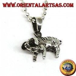 Silver pendant, wild boar or pig