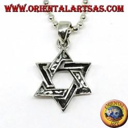 Ciondolo in argento, stella di David (stella a sei punte) spessa