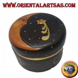 Balsa wood jewelry box depicting moon and star