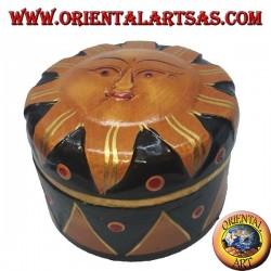 Boîte à bijoux en bois de balsa représentant le soleil doré