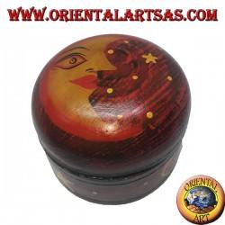 Scatola portagioie in legno di balsa tonda rossa raffigurante luna e stelle
