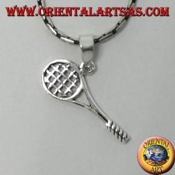 Ciondolo in argento racchetta da tennis