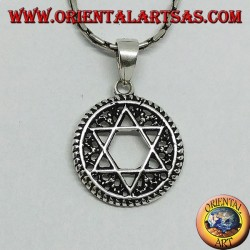 Silver pendant, star of David Jewish star in the circle