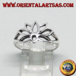 Silver ring in lotus flower, symbol of purity
