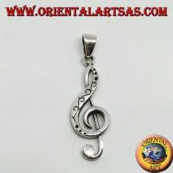 Серебряный кулон Скрипичный ключ или ключ солнца, украшенный