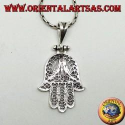 Ciondolo in argento, mano di Fatima o di Miriam Hamsa a filigrana