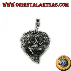 Silver pendant, Ganesha on the leaf