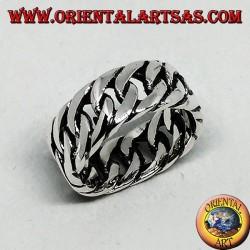 Anello in argento a catena rigida