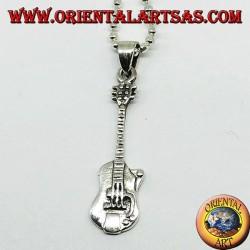 Серебряная подвесная электрическая гитара