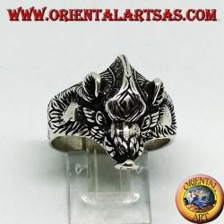 Серебряное кольцо с головой кабана