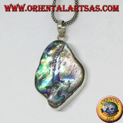 Irregular silver pendant with paua shell (abalone)