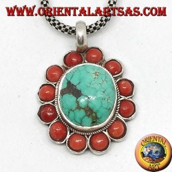 Silver pendant with natural Tibetan oval Turquoise and coral