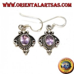 Handmade silver earrings with natural oval Amethyst set